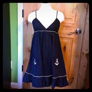 UO Anthro MONTEAU Blue Wht Nautical ⚓️ Dress EUC M